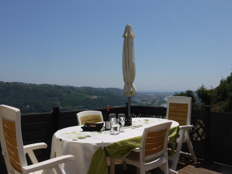 Enjoy a glass of wine with your BBQ whilst admiring the view to Nice and the Med
