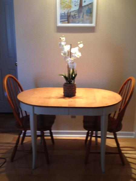 Smaller dining table, seats three/four