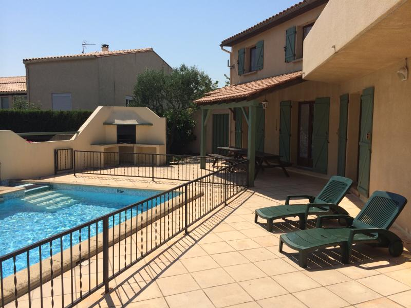 Private, south facing terrace, pool, BBQ and outdoor dining area