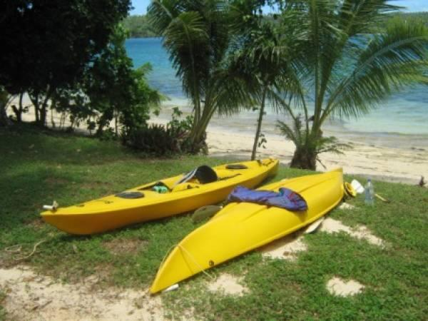 Two sit-in kayaks with buoyancy aides for guests use - a paddle around beautiful lagoon is awesome !