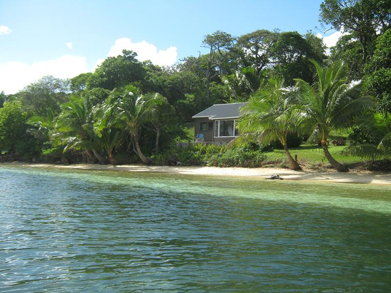 Another view of One'atea, in the sheltered, private lagoon - with white sandy beach front