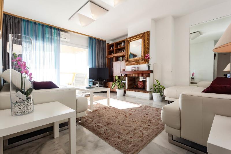 Amplio salón, totalmente equipado con TV, DVD, IPTV internacional, sonido envolvente, radio, aire acondicionado.