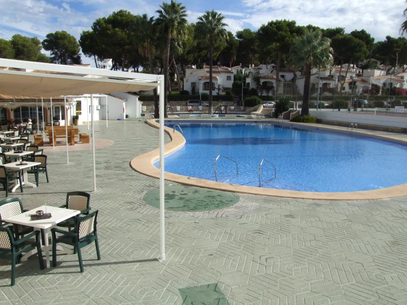 pool area one of the largest in Javea now has safety fence also