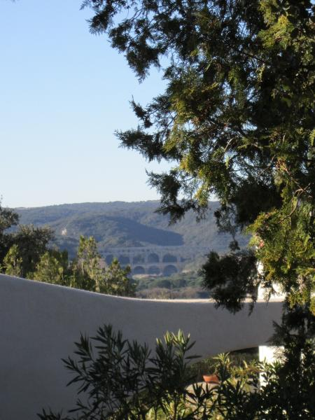 view of the Pont du Gard from villa terrace