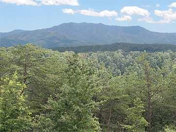 The view of Mt. LeConte from the deck
