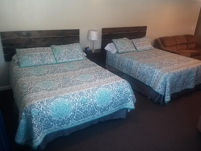 2 queen beds with a sofa bed. Think large, comfortable hotel room, but much more affordable!
