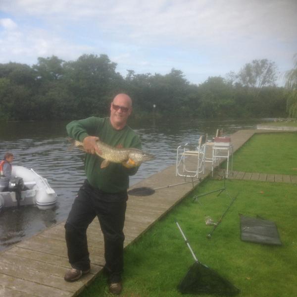 Fishing from garden in season.