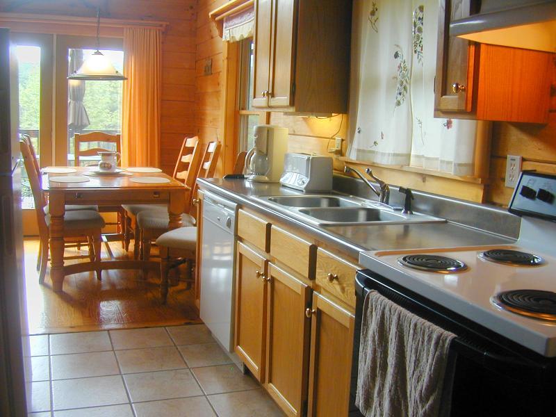 The open kitchen lets conversation flow