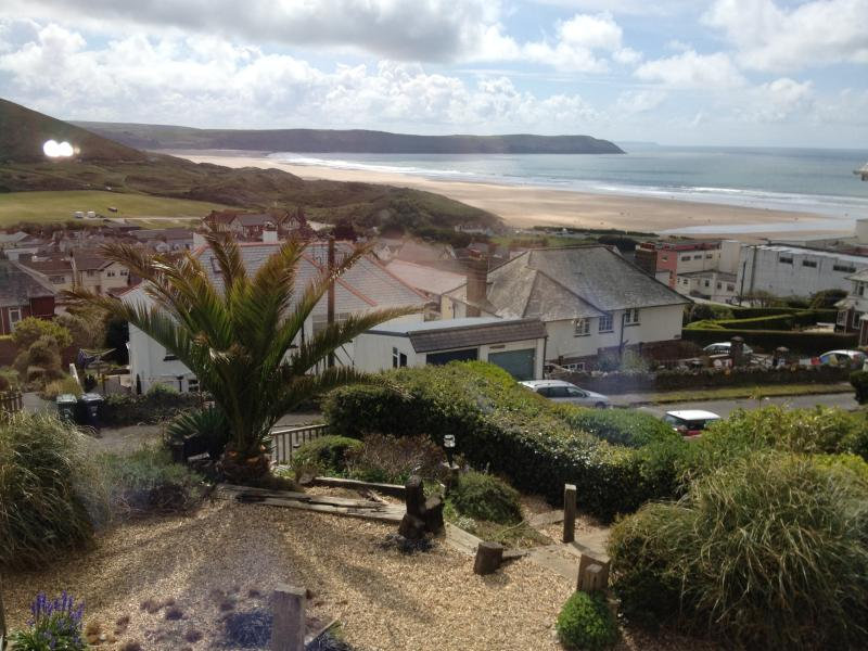 Fabulous View across Woolacombe Bay from the lounge front windows, check out the surf!