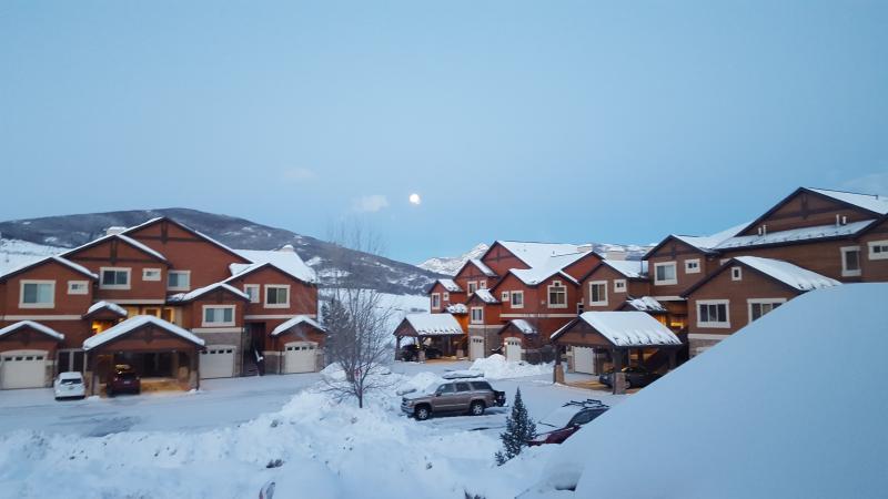 Moon setting over Lakeside Village