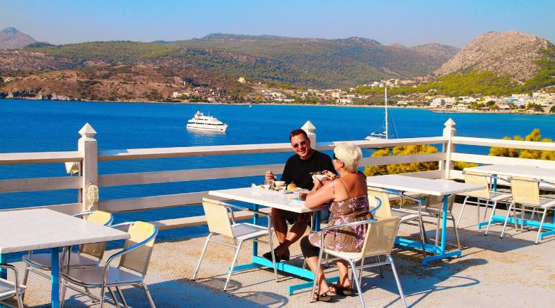 Breakfast on the Kavos Bay sundeck