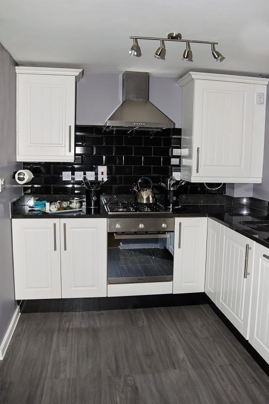 Fully equipped kitchen including dishwasher, washing machine, fridge freezer, microwave, toaster