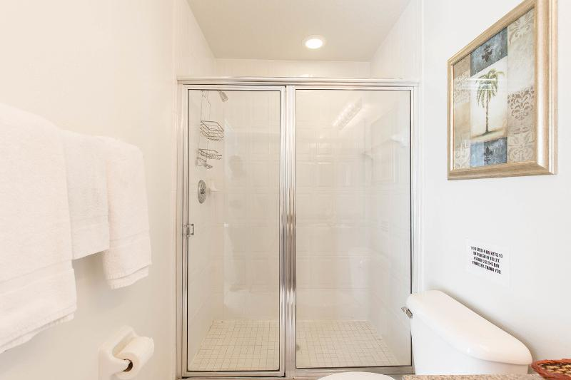 Upstairs master bedroom suite with walk-in shower.