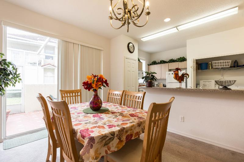 Formal dining area for six people.