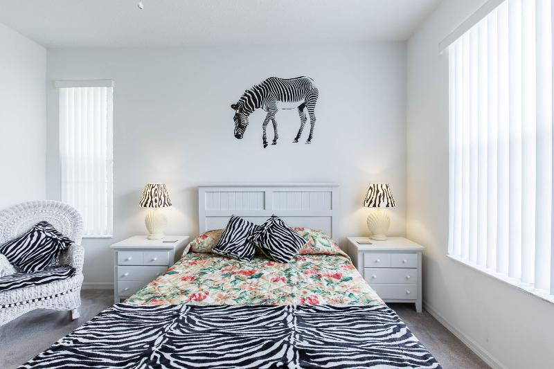 Downstairs Master Bedroom with zebra theme.