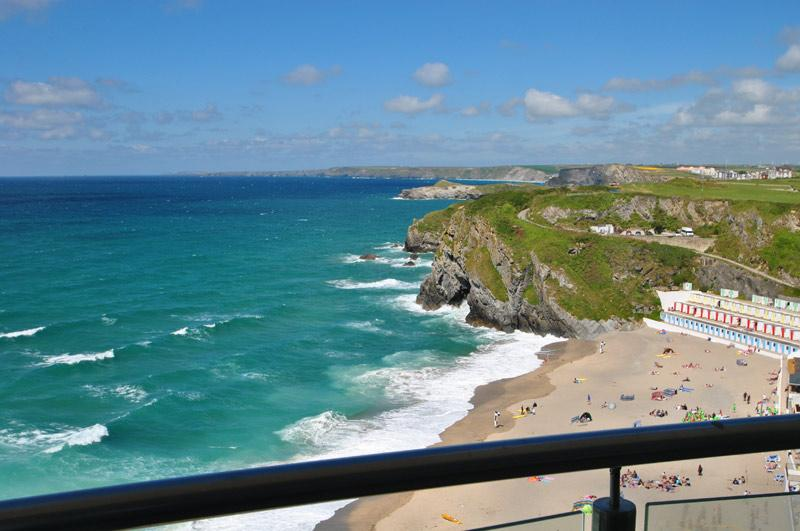 31 Rocklands, view from the balcony overlooking Tolcarne Beach and Newquay Bay.