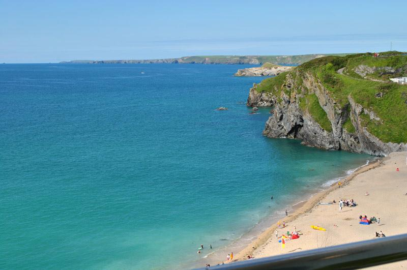 Tolcarne Beach from the balcony