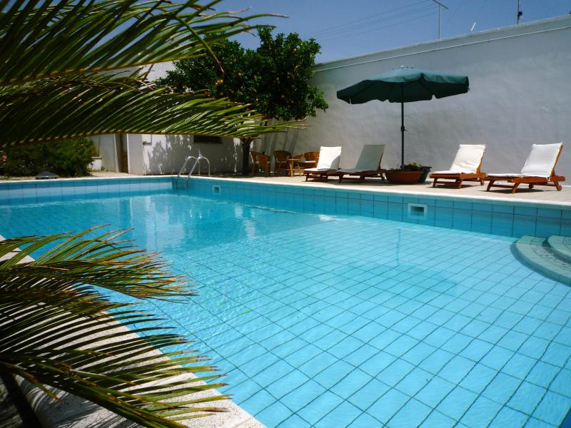 The swimming pool, in the rear, enclosed, couryard,  is just for you. It's  heated by solar panels