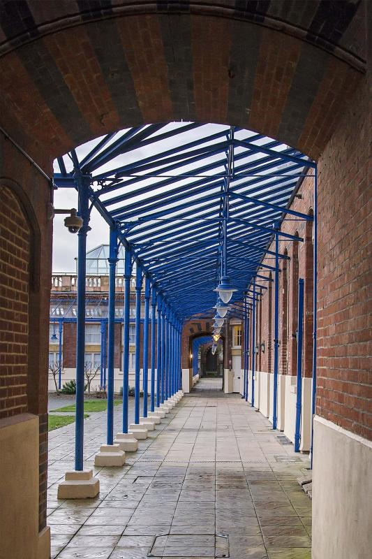 Victorian undercover walkway to the apartment