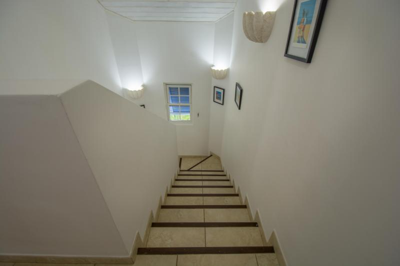 The stairwell, with art provided by a local artist...