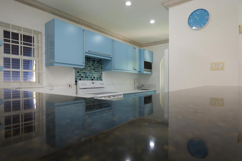 The kitchen, decked in caribbean blue...