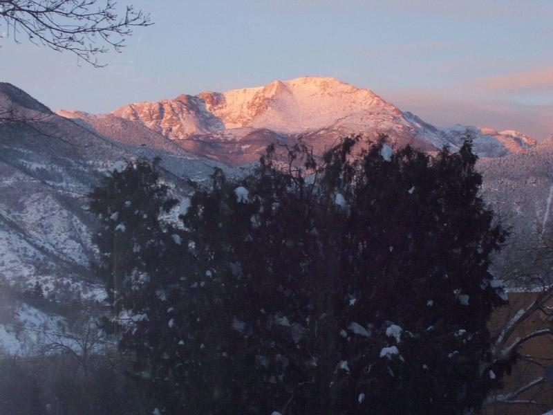 View of Pikes Peak from deck, both bedrooms and kitchen. Private & peaceful. Next to  Garden of Gods