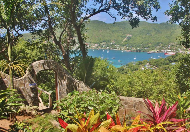 Beautiful views of tropical gardens  and Admiralty Bay from the Pool House bedroom