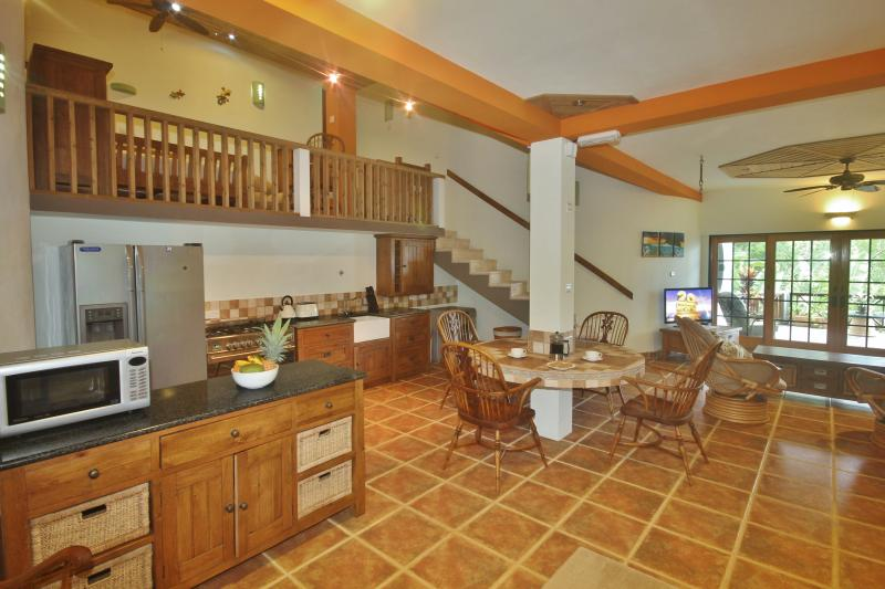 The spacious and well equipped dining and kitchen area