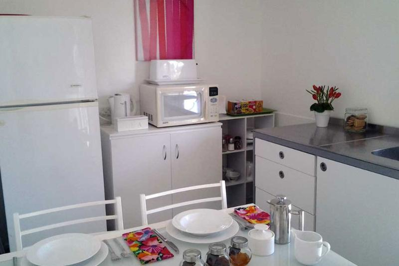 Kitchenette has a fridge, microwave, toaster, jug, iron and is fully equipped.