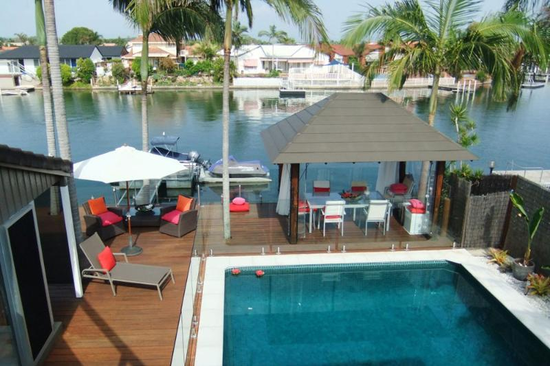 Waterfront with private pool and entertaining area and the cabana situated overlooking the water.