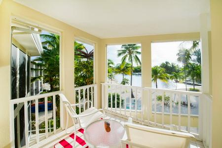 Balcony overlooking the lanai and cove.