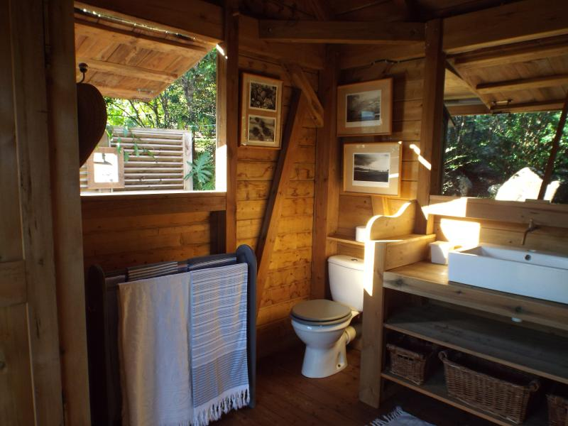 la salle d'eau ouverte sur la douche extérieure