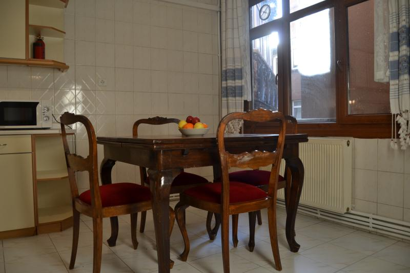 Dining table, can be extended to seat 6 to 8 persons.