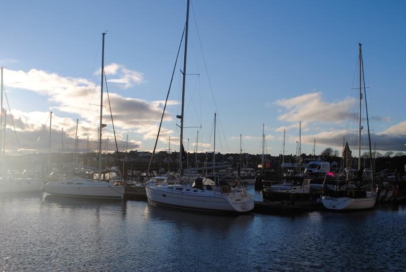 The marina is a beautiful place to sit and watch the world sail by