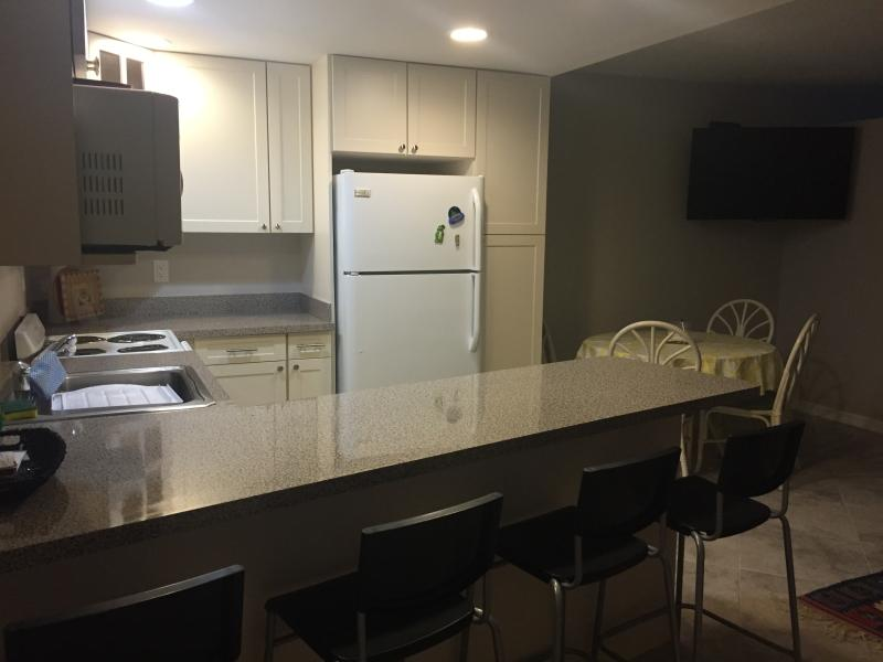 Newly renovated kitchen with breakfast bar.
