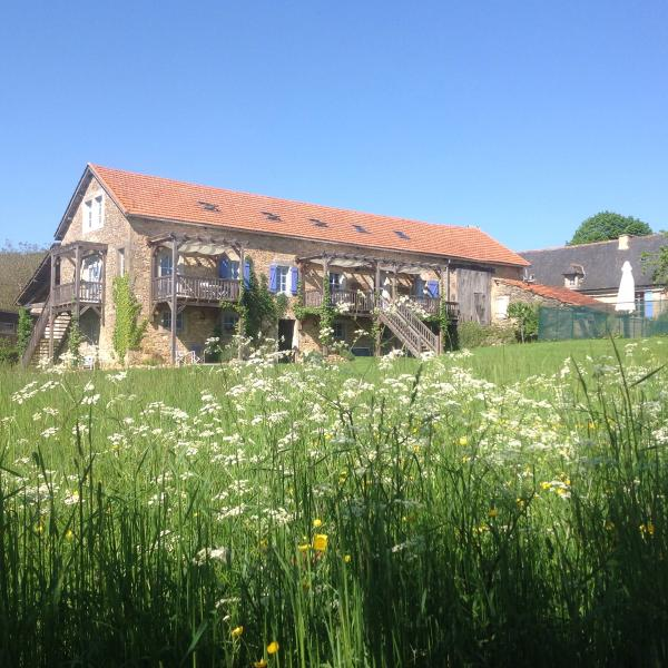Gite Cerise in our converted honey coloured stone barn at Le Roc, set in 2 acres of meadowland.