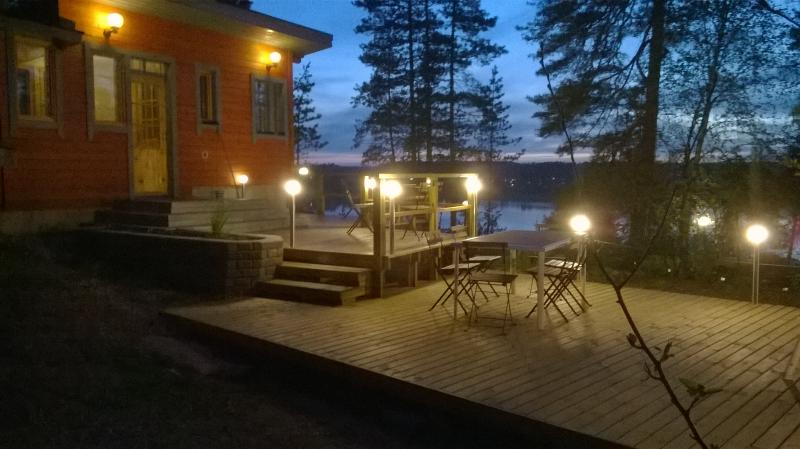 The sauna and barbecue terrace in the early spring.