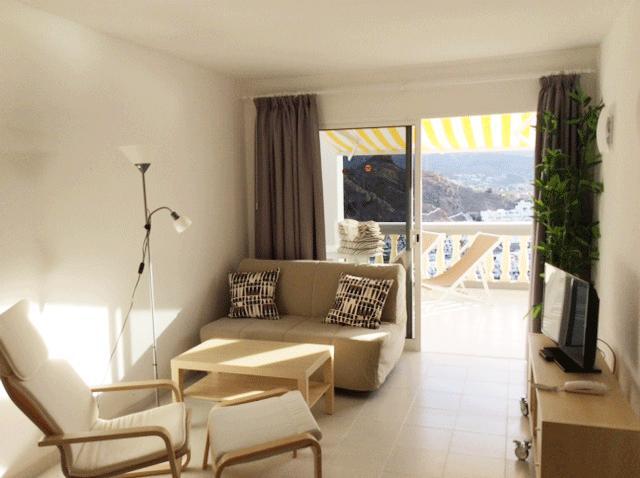 sala de estar con sofá cama y TV de pantalla plana (español, Reino Unido, canales alemanes)