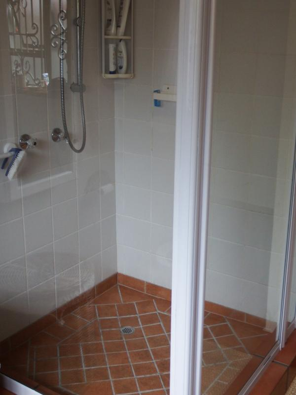 Main bathroom with extra large shower.