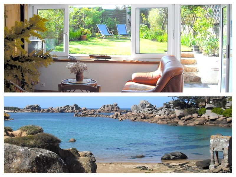 Terre et mer, le plaisir d'un jardin fleuri,  d'une maison confortable, dans un site magnifique
