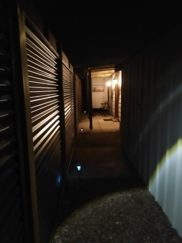 private entrance. Well lit at night by sensor lights
