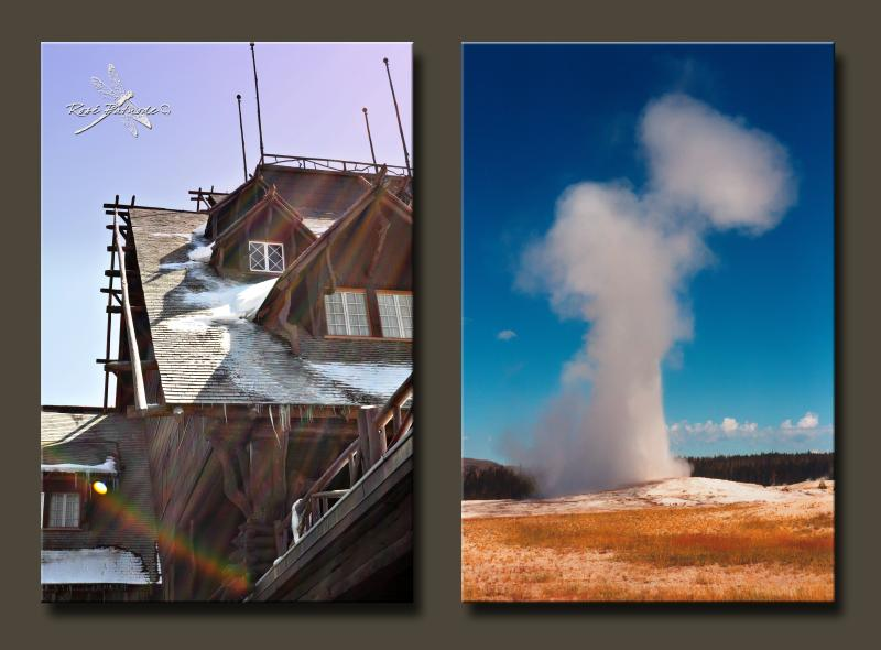 Old Faithful Inn and Old Faithful, Yellowstone National Park
