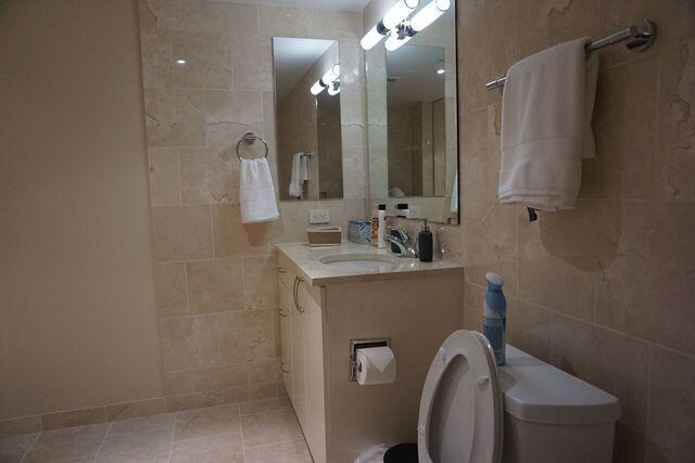 bathroom with toiletries and clean towels