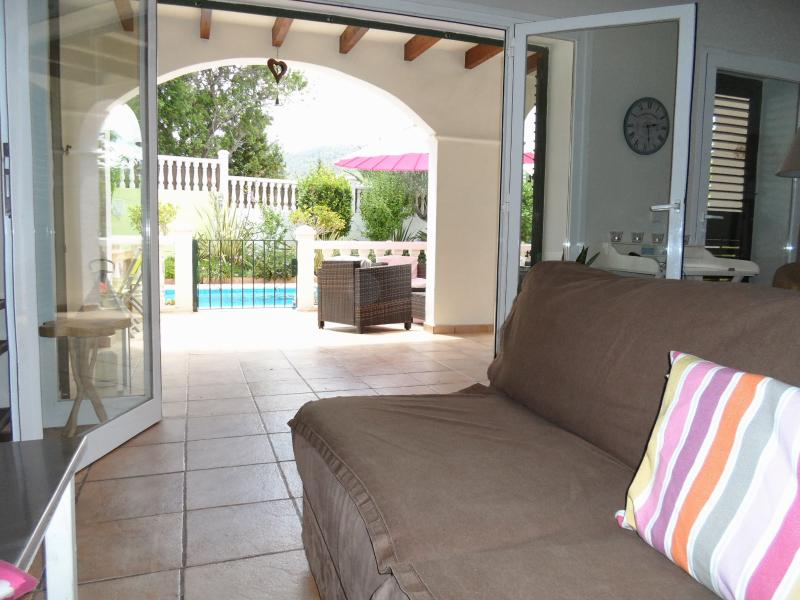 View out to the pool...spacious,  gated terrace so very safe for toddlers