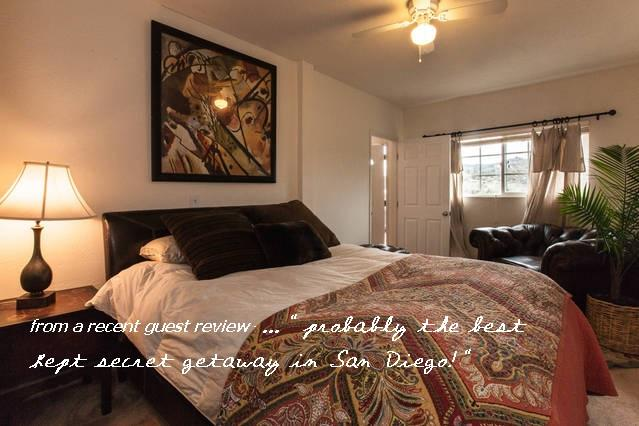 Comfortable queen bedroom with huge walk in closet.