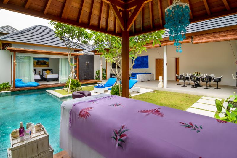 There are 2 massage beds so you can have a private masseuse come to the Villa.