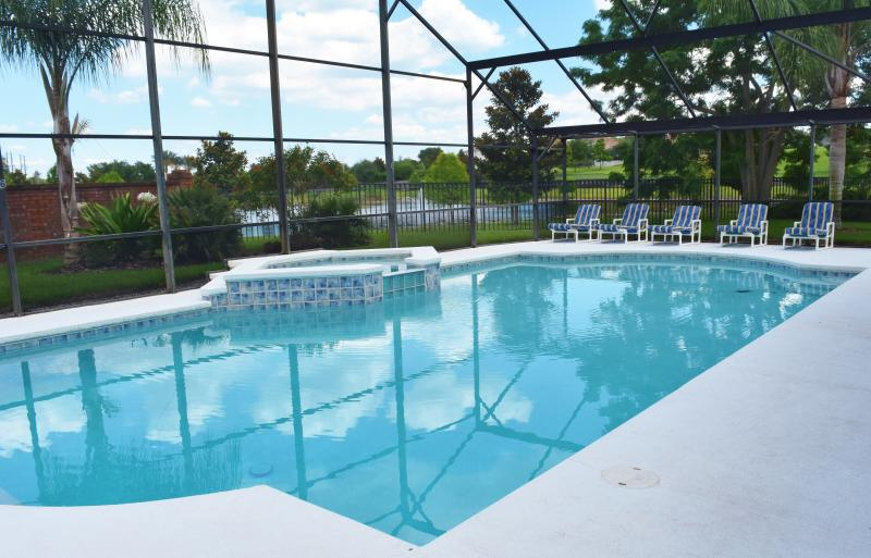 Stunning 40 foot pool and large SPA with plenty of seating (14 chairs/ tables). Sure to delight all.