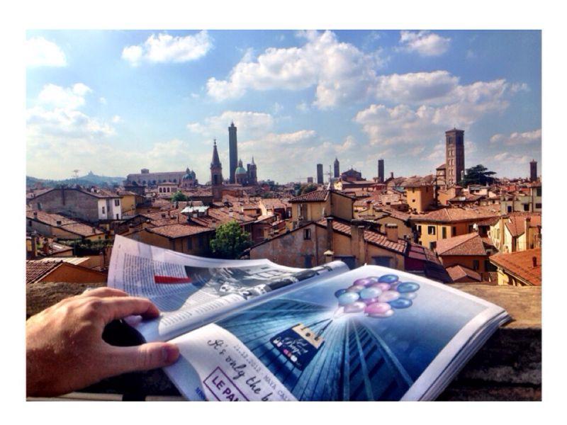 En miljon dollar view. Landskapet från terrassen på toppen, kan du njuta av Bologna i 360 grader