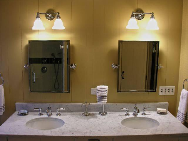 Master ensuite bathroom is large with double sinks and marble counters