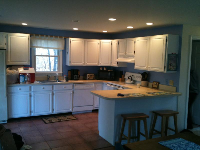 Kitchen with newly painted cabinets!